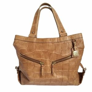 Dooney & Bourke Tan Crocodile Embossed Leather Bag